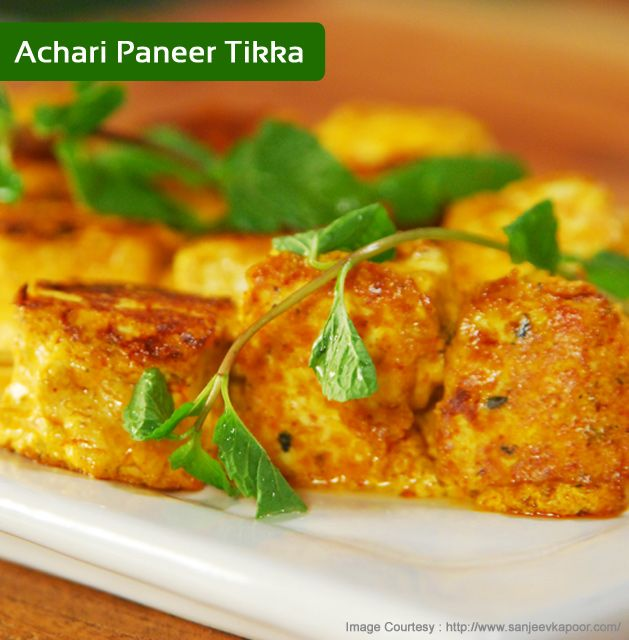 110 best south asian vegetarian dishes images on pinterest indian paneer marinated in pickle masala marinade and grilled by chef sanjeev kapoor for recipe click forumfinder Gallery