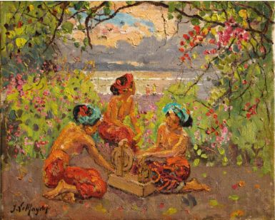 Walter Spies, Banyan with Two Youg Balinese