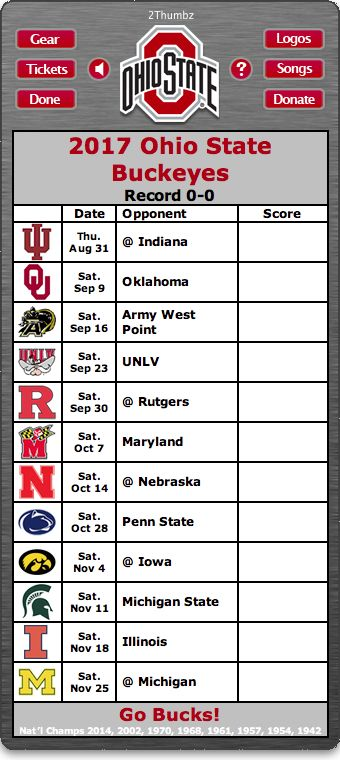 BACK OF MAC APP - 2017 Ohio State Buckeyes Football Schedule App for Mac OS X - Go Bucks! - National Champions 2014, 2002, 1970, 1968, 1961, 1957, 1954, 1942 Download yours at: http://2thumbzmac.com/teamPages/Ohio_State_Buckeyes.htm