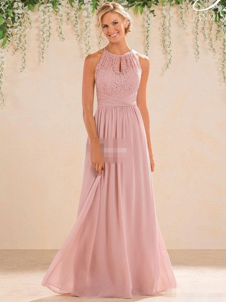 7957a8be8656 Blush 2017 Cheap A Line Lace Chiffon Bridesmaid Dresses A Line High Neck  Backless Long Summer