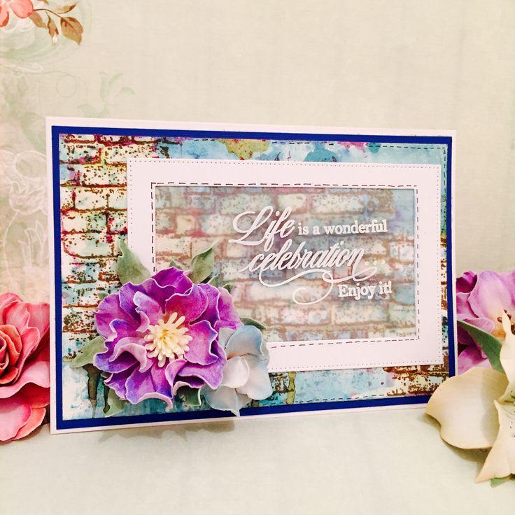 Brusho colors/ bobunny stamps/ handmade foamiran flower
