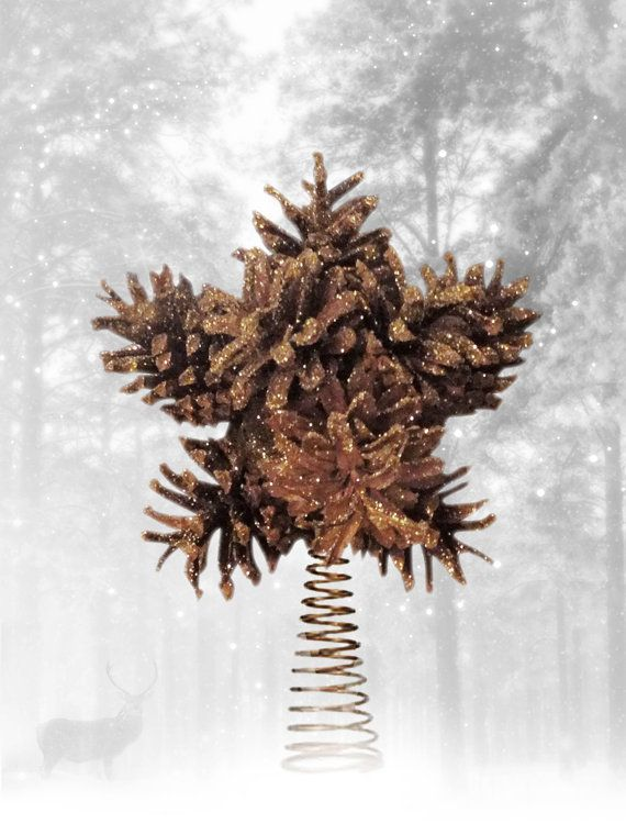 Pine cones star snowflake christmas tree topper for Pine cone tree decorations