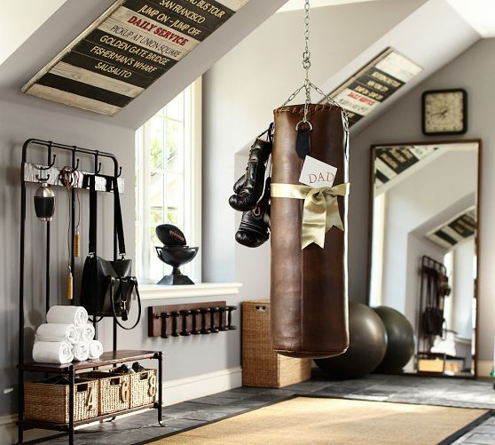 Fantastic weight room!!!—Wall-mounted weights | Pottery Barn