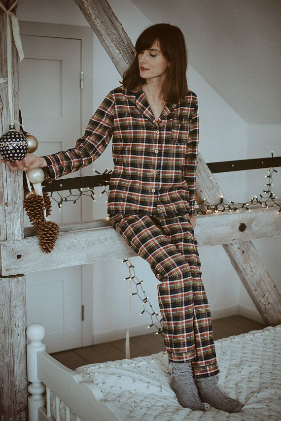 Our iconic flannel pajama set for women. Warm and comfy, made of extra soft cotton. Perfect pajamas for winter nights!  Laura by Lunaby $70
