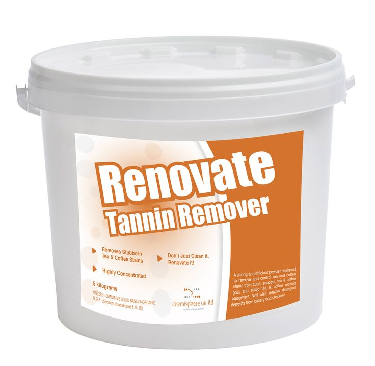 Renovate Tannin Remover is a strong and efficient powder designed to remove and control tea and coffee stains from cups, saucers, tea and coffee pots and static beverage making equipment. This will also remove detergent deposits from cutlery and crockery.
