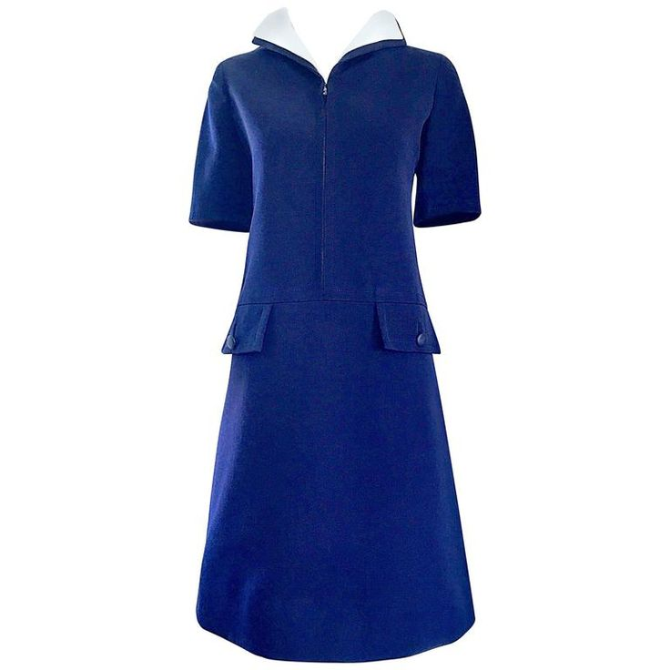 1960s Yves Saint Laurent Haute Couture Navy Blue   White Rare Nautical 60s Dress | From a collection of rare vintage cocktail-dresses at https://www.1stdibs.com/fashion/clothing/evening-dresses/cocktail-dresses/