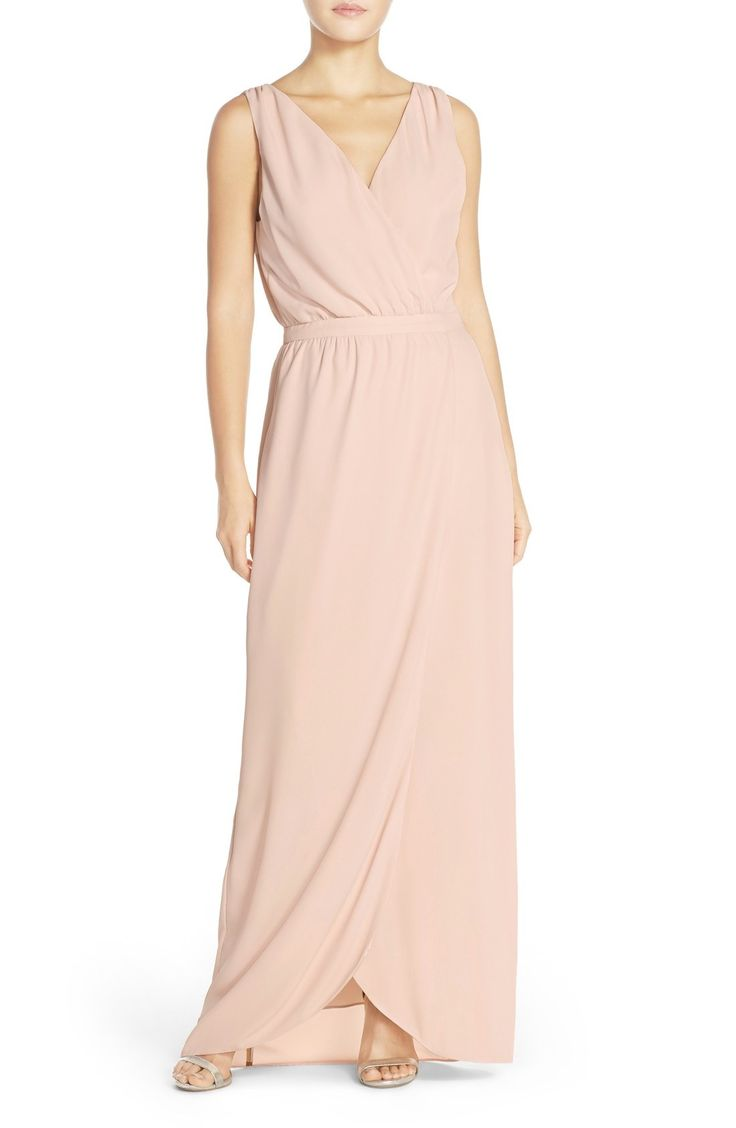 Paper Crown by Lauren Conrad 'Bellingham' Tulip Hem Faux Wrap Crepe Gown available at #Nordstrom