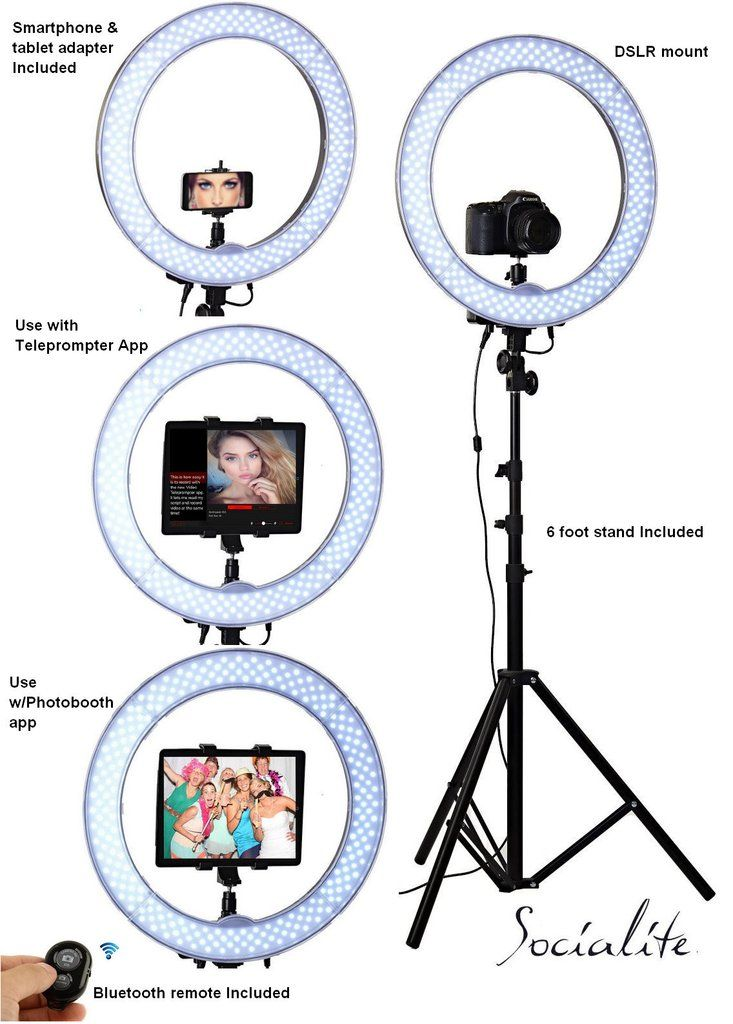 """SOCIALITE 18"""" LED Live Video iPad Ring Light Kit - Includes Ring Light, 6ft Stand, Bluetooth Remote, Heavy Duty Mounts for iPad, tablets, DSLR Digital Cameras, iPhone 6s 7 Plus Smartphones, Perfect for Teleprompter or Photobooth"""