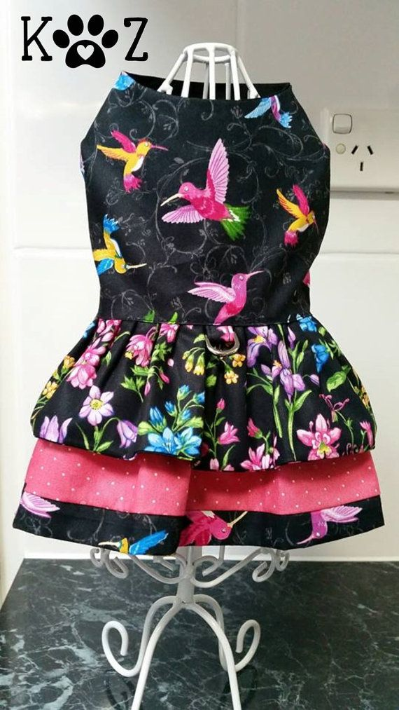 The Humming Birds Dog Harness Dress XSmall by KZDogCouture on Etsy