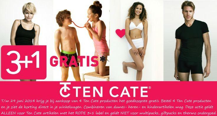 De Ten Cate 3+1 actie is begonnen!  T/m 29 juni 2014 krijg je bij aankoop van 4 Ten Cate ondergoed producten het goedkoopste. Bestel 4 Ten Cate producten en je ziet de korting direct in je winkelwagen. Combineren van dames- heren- en kinderartikelen mag.  Damesondergoed, herenondergoed en kindergoed is te vinden op http://www.underfashion.nl  Deze Ten Cate actie 3+1 geldt ALLEEN voor Ten Cate artikelen met het RODE 3+1 label en geldt NIET voor multipacks, giftpacks en thermo ondergoed.