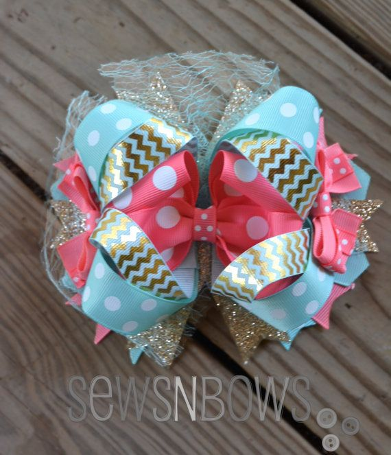 Aqua Gold & Peach Boutique Bow by MayenDesigns on Etsy