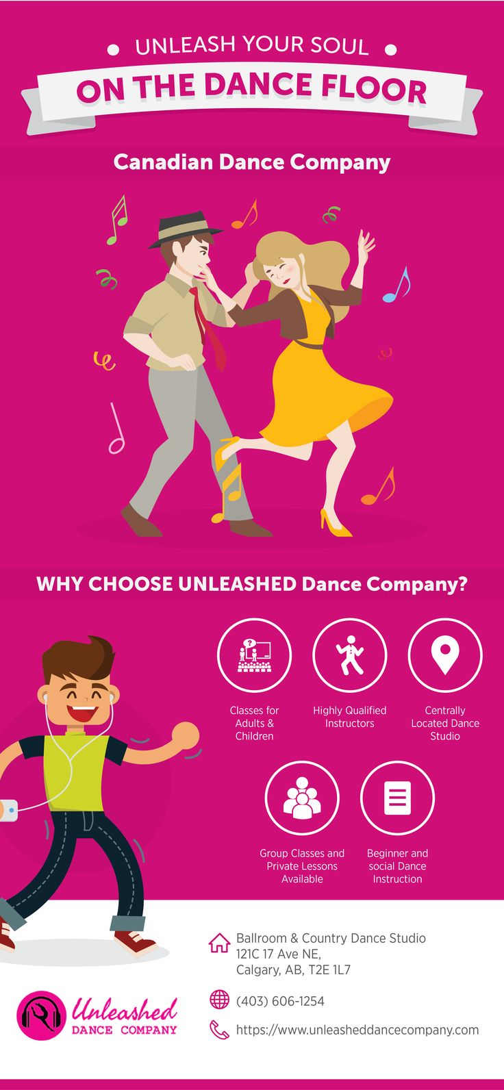 The launch of Unleashed was done with the endeavour to share with the Alberta & Canadian dance community her vast knowledge of dance, kinesiology, and anatomy while creating a fun and safe learning environment.