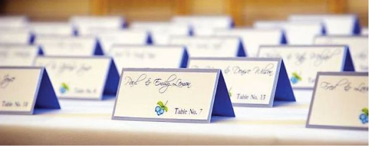 Escort cards can offer the added bonus of being able to indicate each guest's entree selection.: Incorpor Blueberries, Cards Incorpor, Escort Cards, Blue Places, Tables Numbers, Blueberries Wedding, Blossoms Stationery, Places Cards, Wedding Seats Cards