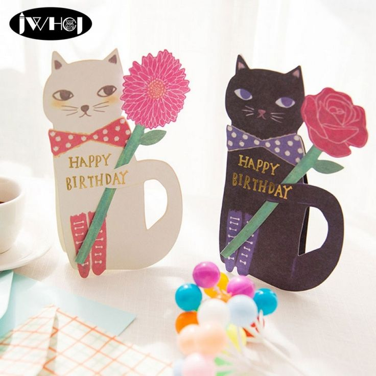 1pcs cute cat flowers happy birthday card with envelope