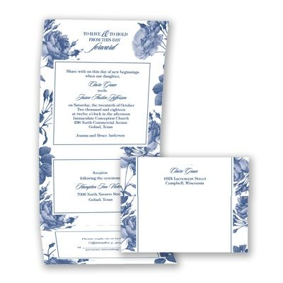Antique Toile Roses - Seal and Send Wedding Invitation | Economical at Invitations By David's Bridal