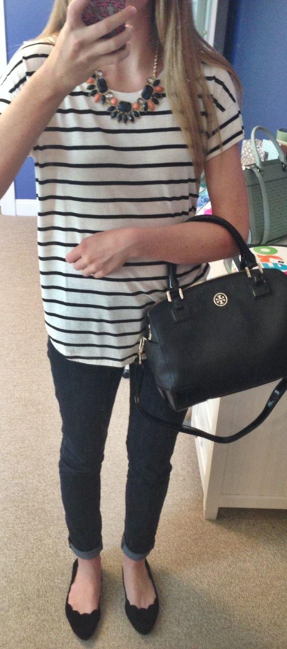 yepitsprep:  OOTD: shirt- gap; jeans- j crew; flats- mia; necklace- fabrik; purse- tory burch