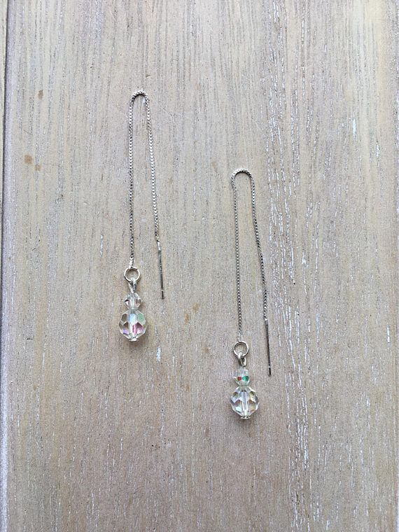 Sterling Silver Earwires with rainbow faceted beads