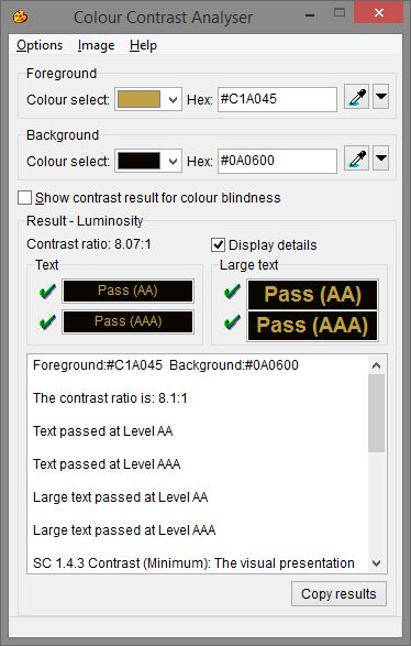 Colour Contrast Analyser The Colour Contrast Analyser (CCA) helps you determine the legibility of text and the contrast of visual elements, such as graphical controls and visual indicators.