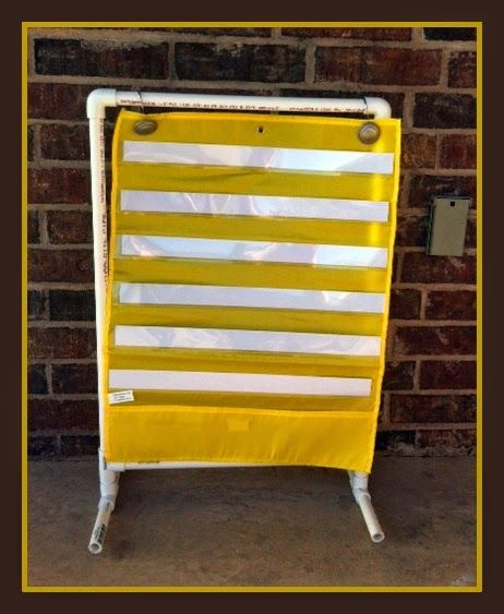 Bright Ideas Blog Hop ~ Shower Curtain Rings and PVC make a portable, lightweight chart stand!