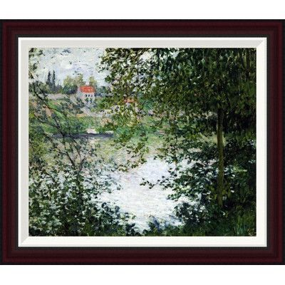 Global Gallery The Island of La Grande Jatte, Through the Trees by Claude Monet Framed Painting Print Size: