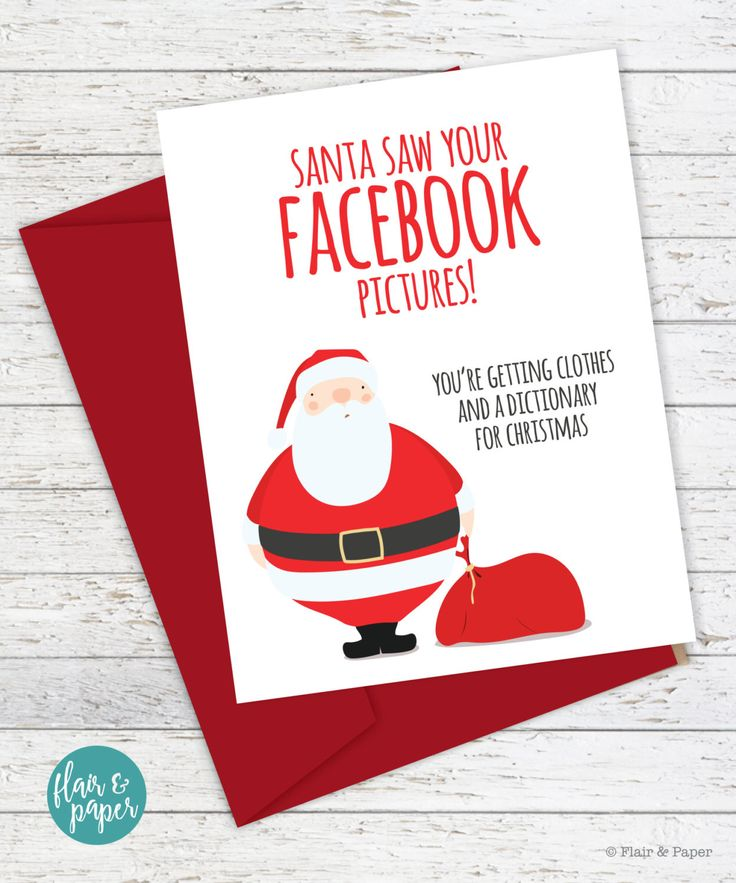 "Funny Christmas Card - Santa Saw Your Facebook Pictures - One 5.5"" x 4.25"" folded card (A2) - A2 coordinating red envelope - Professionally printed on FSC Certified card stock - Blank inside for your"