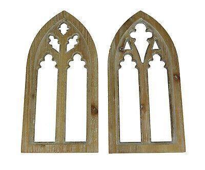 Whitewashed Wood Gothic Arch Window Frame Wall Decor 2 Piece Set Ebay Frames On Wall Frame Wall Decor Arched Windows