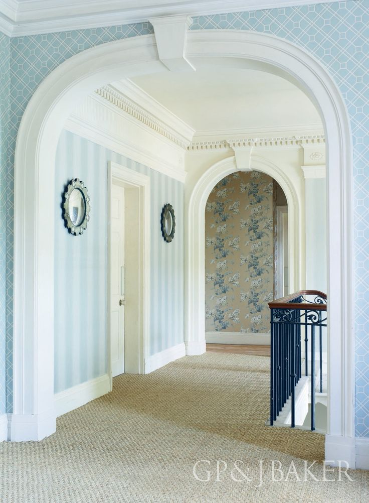 Wallpaper is 'Lilac Blossom' and 'Langdale Trellis' from the Langdale Collection by GP & J Baker.
