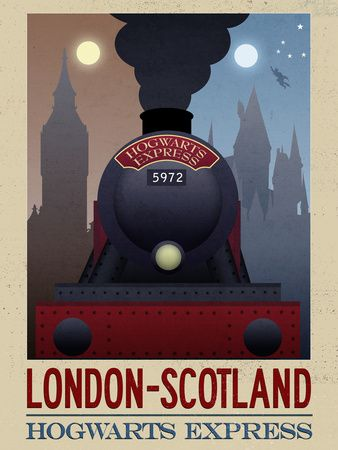 Retro-inspired Harry Potter London to Scotland Hogwarts Express travel poster.