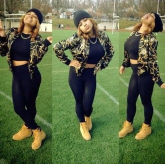 jacket dope timberlands boots leggings black leggings crop tops black crop top gold blsck gold chain chain bomber jacket beanie black beanie swag swagg streetstyle street streetwear clothes fly fashion good vibes bad bitches link up badbitch rachet pretty bitches pants shoes blouse