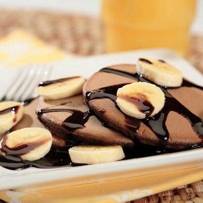 Chocolate pancakes 1 banana 2 eggs 1 tablespoon peanut butter 13 nesquick chocolate