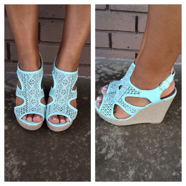 Mint Lena Cut Out Wedges. love the style