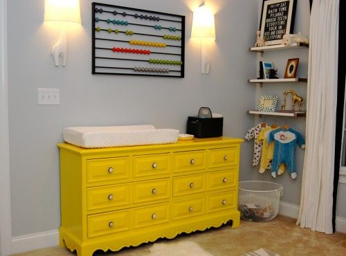 Cute dresser paint job: Paintings Furniture, Wall Art, Modern Kids, Yellow Dressers, Old Dressers, Paintings Dressers, Baby Rooms, Changing Tables, Kids Rooms