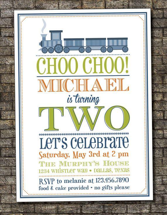 Choo Train Birthday Invitation Boys Party Second 4th 5x7