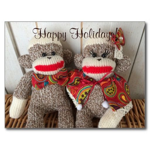 K&K Sock Monkeys(Paisley) Postcard