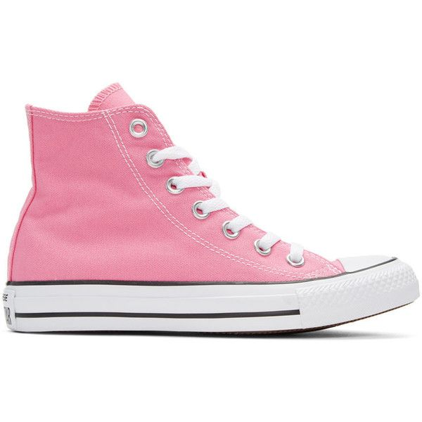 Converse Pink Classic Chuck Taylor All Star OX High-Top Sneakers ($52) ❤ liked on Polyvore featuring shoes, sneakers, pink, high-top sneakers, pink shoes, lace up sneakers, lace up shoes and canvas lace up sneakers