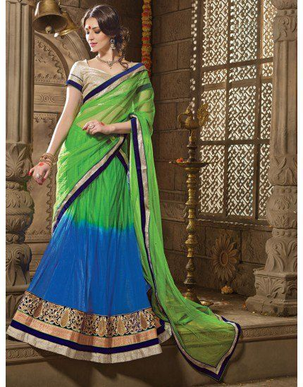 Green and Blue Net Lehenga Choli with Zari Embroidery Work