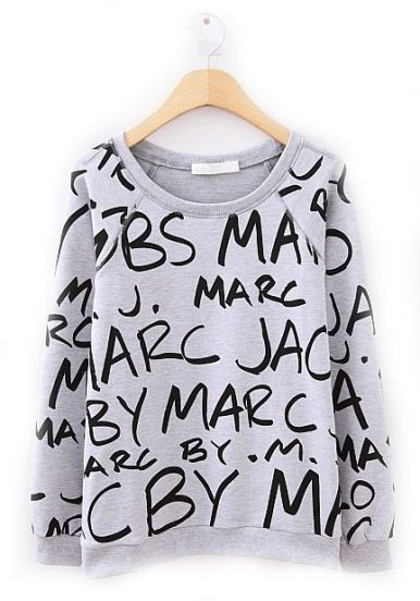2014 New Spring/Winter Fashion Sportswear Brand Top Casual Grey Long Sleeve Black Letters Print O Neck Pullover Sweatshirt Women-in Hoodies ...