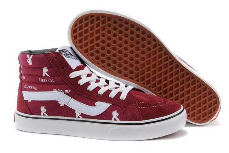 Supreme X Playboy X Vans Sk8 Hi Pro Skate Shoes - Burgundy -Vans skate shoes online shop.