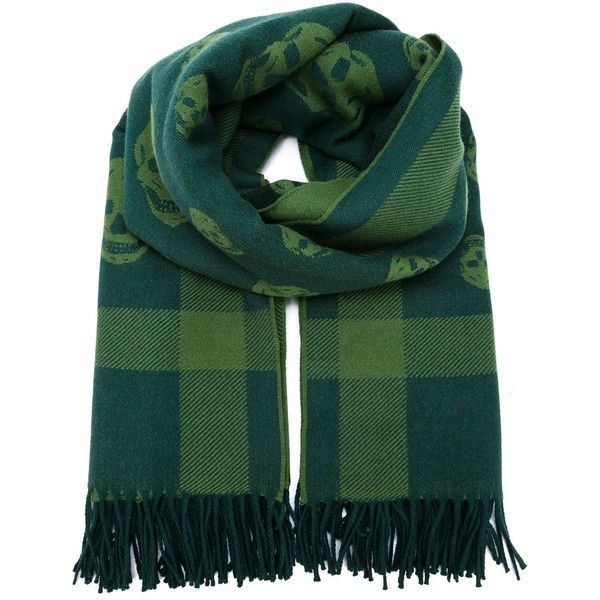 Alexander McQueen tartan skull knit scarf ($795) ❤ liked on Polyvore featuring accessories, scarves, green, tartan shawl, alexander mcqueen, knit shawl, plaid scarves and green scarves