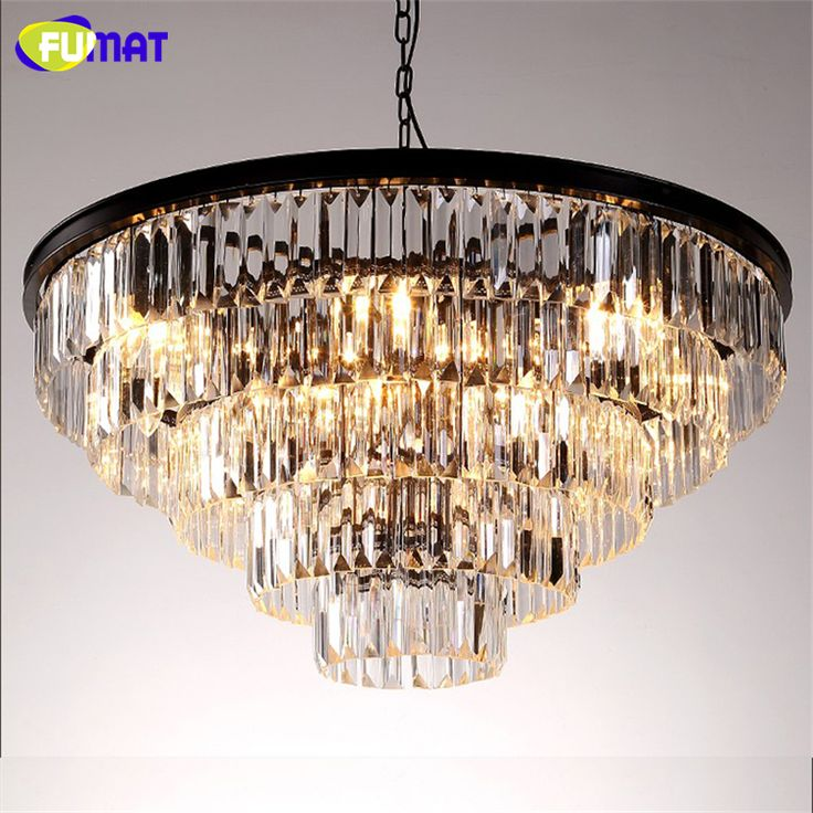 FUMAT K9 Crystal Chandelier LOFT Antique Crystal Suspension Lamp Amber/Smoky Gray/Clear Indoor Lighting LED Light Fixtures #Affiliate