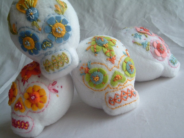 Sugar Skull Softie Stack by the small cat club, via Flickr