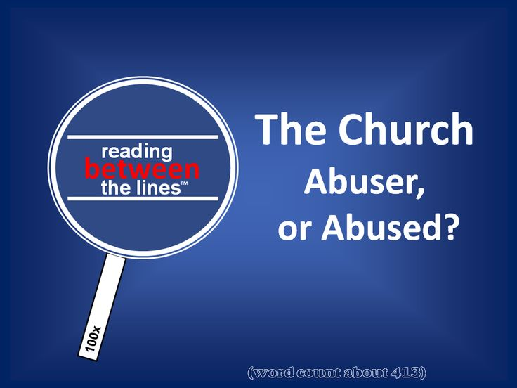 The Church: Abuser or Abused? Reading Between The Lines. http://neilfindlay.com/?p=9794