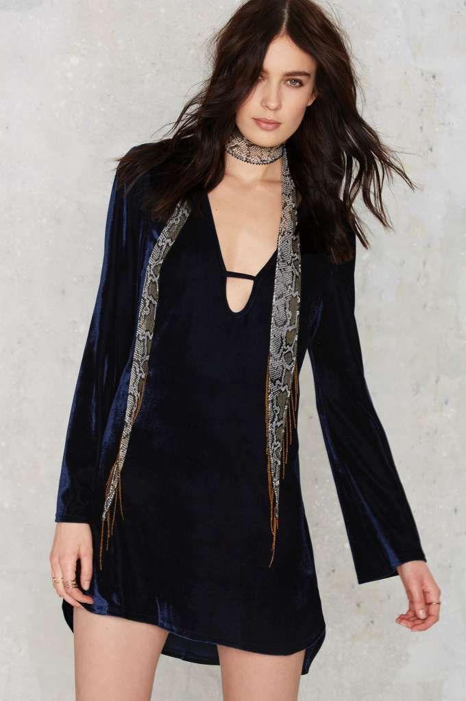 Glamorous Velvet Goldmine Bell Sleeve Dress - Navy   Shop Clothes at Nasty Gal!