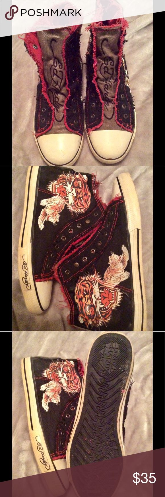 Hardly worn Don ED HARDY designs hi tops Absolutely great condition lace less Don Ed Hardy Chuck Taylor style hi tops. Ed Hardy Shoes Athletic Shoes
