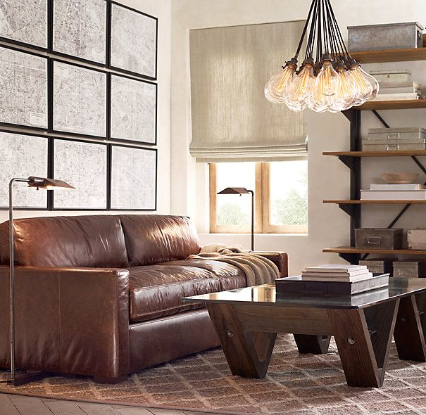 The Petite Maxwell Leather Sofa | two couches, either in destroyed mocha, chestnut, or cigar. under stairs couch = 5'; under windows couch = 7'.
