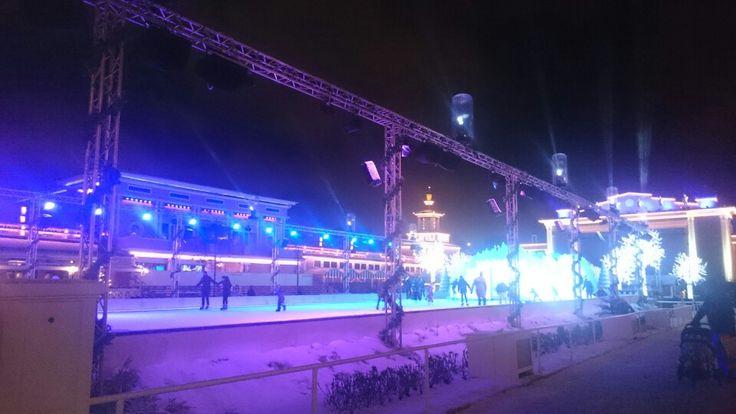 Ice skating rink at Liseberg Amusement park Sweden.