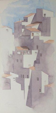 carmen-muruve-acuarelas-planos-urbanos-pueblo-andaluz