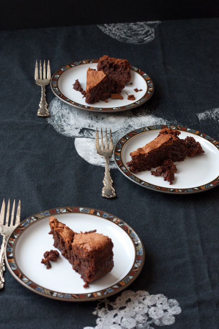 three slices of chocolate hazelnut cake