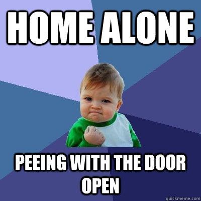 door opened peeing