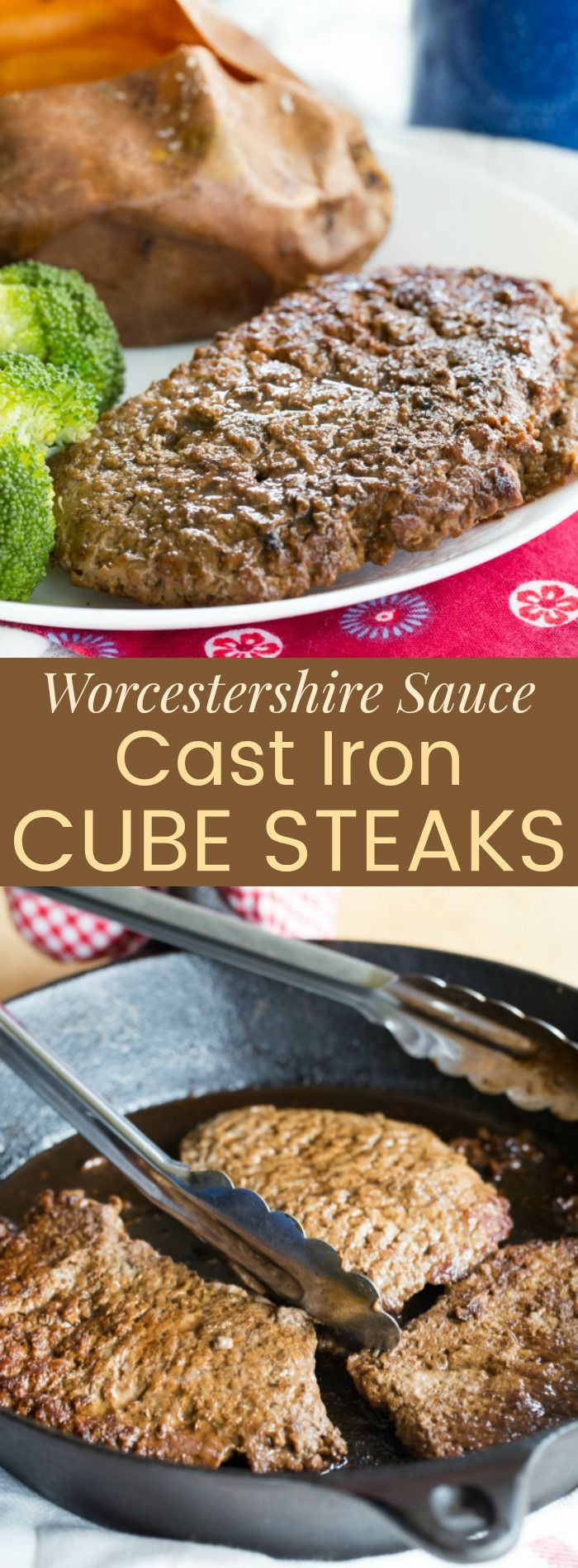 Worcestershire Sauce Cast Iron Cube Steaks - an easy beef recipe perfect for a quick weeknight dinner. There's only two main ingredients and it takes less than ten minutes. And for the #bestbeef, pick up cube steaks from my partner @certangusbeef.
